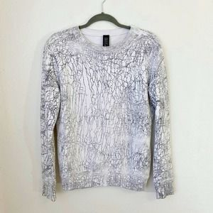 Drifter White/Gray Crackle Print Terry Pullover